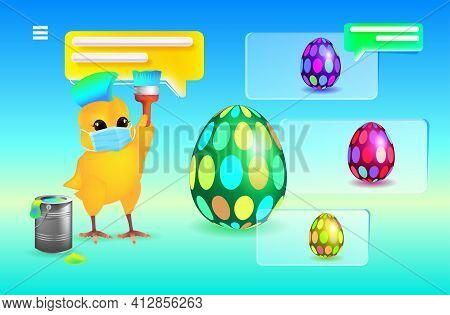 Cute Chick In Mask Decorating Eggs Happy Easter Spring Holiday Celebration Coronavirus Quarantine Co
