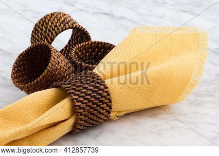Modern And Simple Design, Beautiful Rattan Napkin Rings, Perfect For Clasic And Contemporary Table D