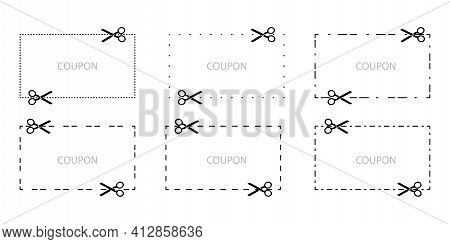 Scissors Seam Shapes For Web Design. Paper Cut Style. Ribbon Background. Stock Image. Eps 10.