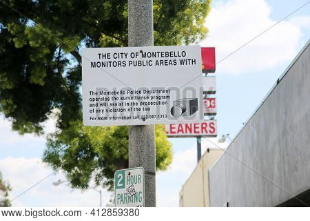 Montebello, California - USA -March 12-2013: Sign notifying public that the city of Montebello uses Video Camera Technology to watch areas for crime. Editorial Use only.
