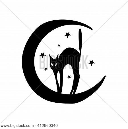 Silhouette Of A Black Cat And A Crescent Moon, Boho Tattoo For A Witch, Fabulous Illustration For Ha