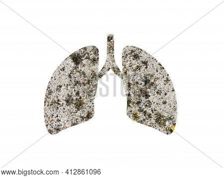 Gray Stone Texture For Presentation Background. Shot Through The Cut Out Silhouette Of The Lungs. In
