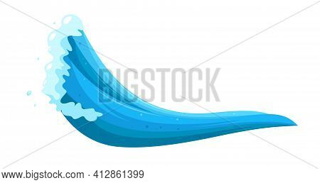Surging Tsunami Wave. Typhoon Flooding Disaster. Cartoon Vector Illustration Isolated On White Backg