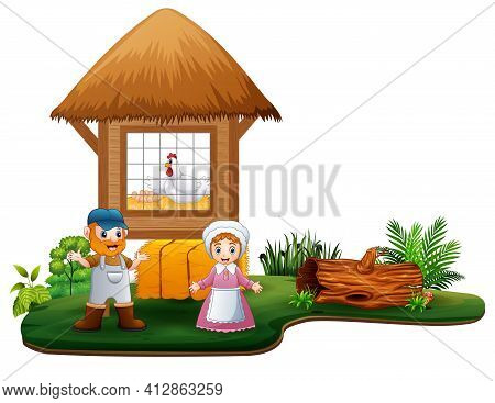 The Farmers And Chickens Coop In The Farm Illustration