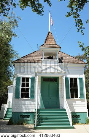 LAKE FOREST, CA - APRIL 19, 2017: Heritage Hill Historical Park. The El Toro Grammar School is of the historic buildings from the El Toro - Saddleback Valley area relocated to the park.