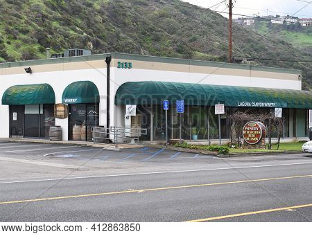 LAGUAN BEACH, CA - JAN 15, 2017: Laguna Canyon Winery. A Boutique urban winery offering tastings, bottle sales and first-Friday parties with food and music.