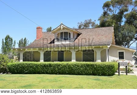 LAKE FOREST, CA - APRIL 14, 2017: Heritage Hill Historical Park. The Harvey Bennett Ranch House are is of the historic buildings from the El Toro - Saddleback Valley area relocated to the park.