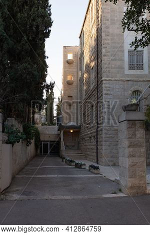 Jerusalem, Israel, February 27, 2021 : Evening View Of A Quiet Residential David Markus Street In Th