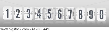 One Line Vector Template For Time Design. Flip Scoreboard With Digits Symbols And Reflections For Wh