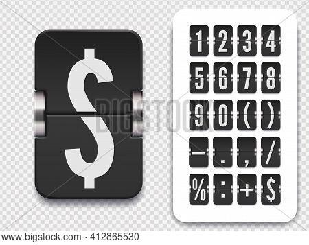 Flip Number And Symbol Scoreboard On Transparent Background. Vector Illustration Template. Analog Co