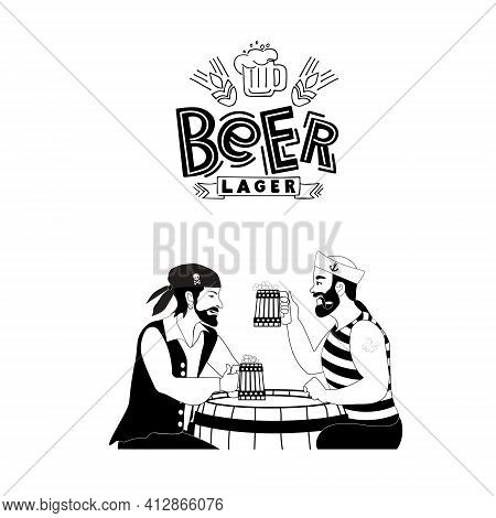 A Sailor And A Pirate Drink Beer In A Pub Together. Vector Cardboard Characters With Beer Mugs In Th