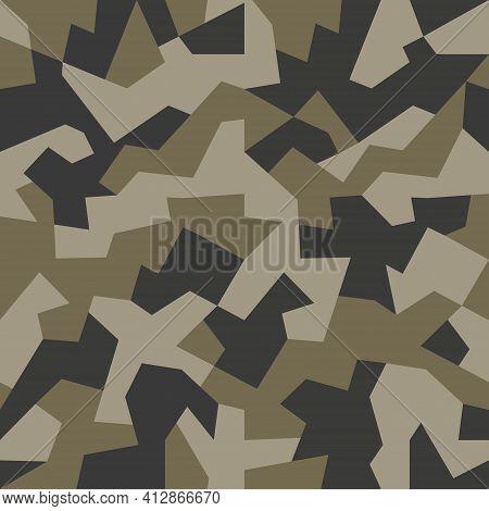 Brown Khaki Green Geometric Camouflage Seamless Pattern. Modern Military Camo Texture. Stock Vector