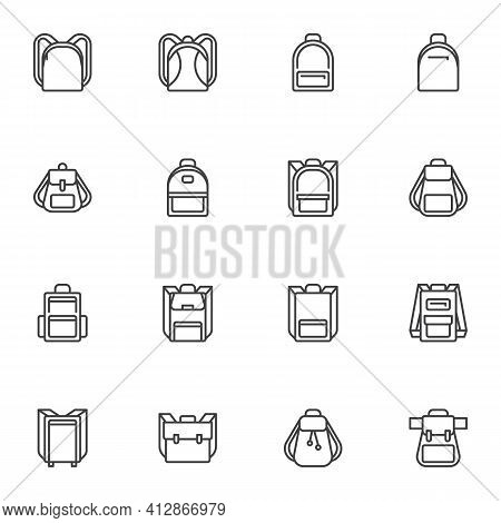 Backpack Line Icons Set, Outline Vector Symbol Collection, Linear Style Pictogram Pack. Signs, Logo