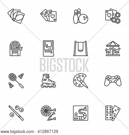 Recreation And Entertainment Line Icons Set, Outline Vector Symbol Collection, Linear Style Pictogra