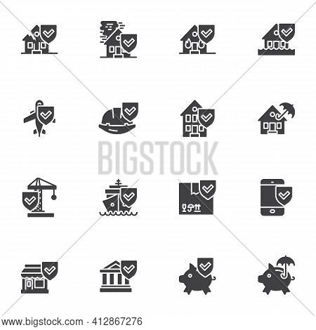 Insurance Related Vector Icons Set, Modern Solid Symbol Collection, Filled Style Pictogram Pack. Sig