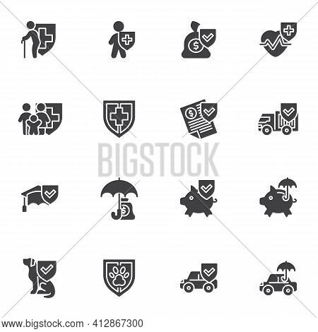 Insurance Service Vector Icons Set, Modern Solid Symbol Collection, Filled Style Pictogram Pack. Sig