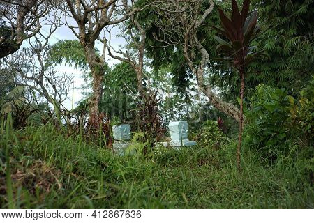Tombstones In Traditional Indonesian Graves. A Grave Among The Grass And Weeds. Spooky Atmosphere In