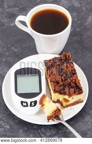 Glucometer For Checking And Measuring Sugar Level And Fresh Baked Cheesecake With Black Coffee. Diab