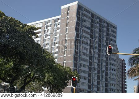 Upward View Of Tall Older Architectural Residential Building