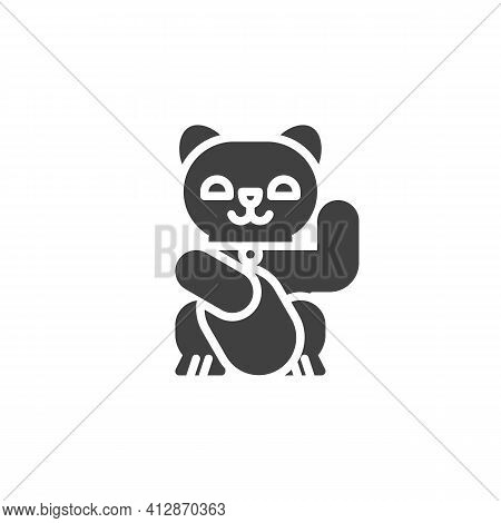 Japan Lucky Cat Vector Icon. Filled Flat Sign For Mobile Concept And Web Design. Maneki Neko Glyph I