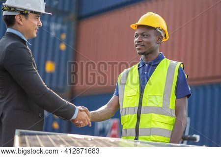 Engineer Two People Shake Hand Agreement Project Estate Building Construction, Handshake On Construc