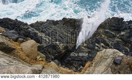 Rocks In The Surge Of Atlantic Ocean On Fuerteventura Near Ajuy