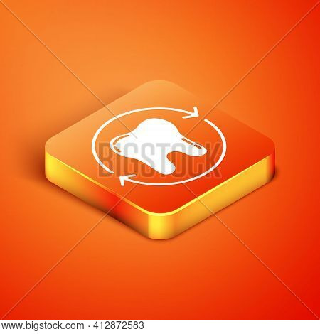 Isometric Tooth Whitening Concept Icon Isolated On Orange Background. Tooth Symbol For Dentistry Cli