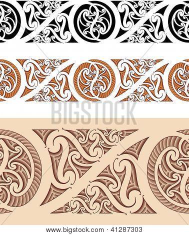 Maori styled seamless pattern. Vector illustration. Raster. Check my portfolio for a vector version.