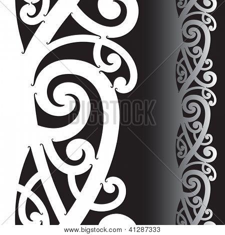 Maori styled tattoo pattern. Seamless illustration. Raster. Check my portfolio for a vector version.