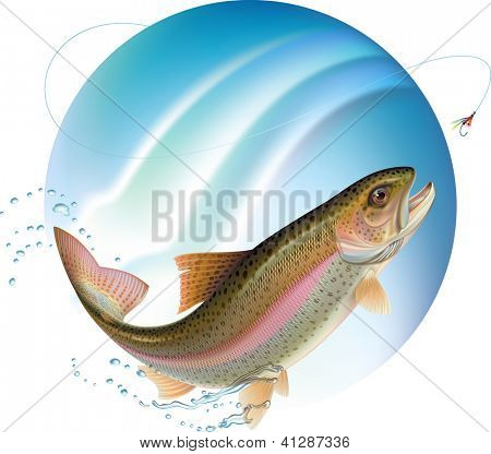 Trout jumping for the bait with water sprays around. Raster. Check my portfolio for a vector version.
