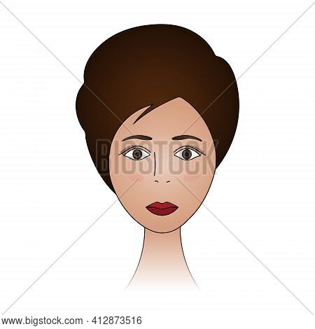 Womans Face. Lady Full Face. Colored Vector Illustration. Cute Brunette With Brown Eyes. Short Pixie