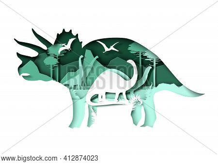 Paper Cut Dino Silhouettes And Nature Landscape, Vector Illustration. Dinosaur, Reptile Wild Animal.