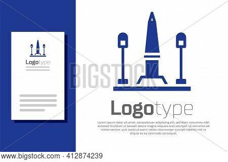 Blue Place De La Concorde In Paris, France Icon Isolated On White Background. Logo Design Template E