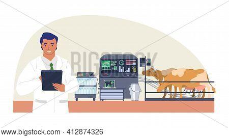 Smart Cattle Farm, Flat Vector Illustration. Automatic Cow Milking Machine. Iot, Smart Farming Techn