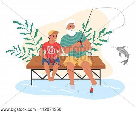 Happy Grandfather And Grandson Fishing Together, Flat Vector Illustration. Grandparent Grandchild Re