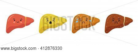Stages Human Liver Damage Concept Set. Healthy, Fatty, Fibrosis, Cirrhosis Characters. Liver Disease