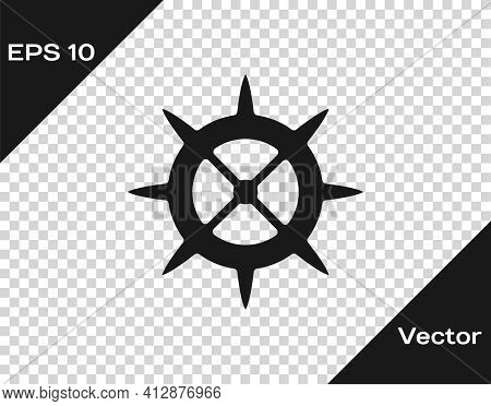 Black Bicycle Sprocket Crank Icon Isolated On Transparent Background. Vector