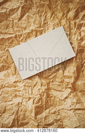White Business Card Flatlay On Brown Parchment Paper Background, Luxury Branding Flat Lay And Brand