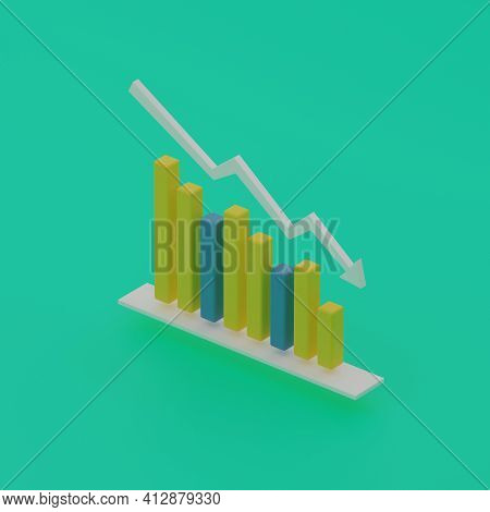 Business Graph Of Fluctuations And Declines Of Statistical Indicators On A Green Background. Isometr