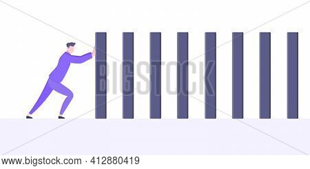 Stop Domino Effect Business Resilience Metaphor Vector Illustration Concept.