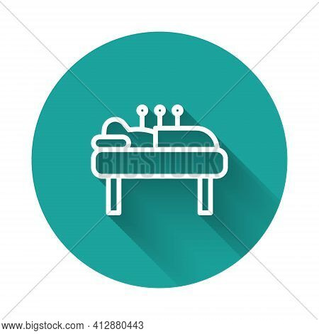 White Line Acupuncture Therapy Icon Isolated With Long Shadow. Chinese Medicine. Holistic Pain Manag