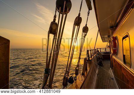 Wooden sailing ship at sea