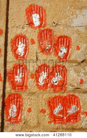 Hand Prints Of Women (maharaja's Wives) Who Committed Sati In Meherangarh Fort In Jodhpur, Rajasthan