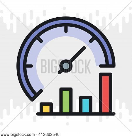 Business Process Optimization Icon. Performance Or Productivity Meter With Growth Chart. Simple Colo