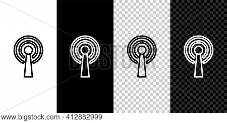 Set Line Antenna Icon Isolated On Black And White Background. Radio Antenna Wireless. Technology And