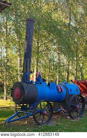 Pereyaslav, Ukraine-october 14, 2020:locomobile (steam Generator). Rusty Steam-engine For Agricultur