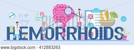 Hemorrhoids Concept Vector Websites, Blog, Header. Intestine Doctors Examine, Treat Dysbiosis. Tiny