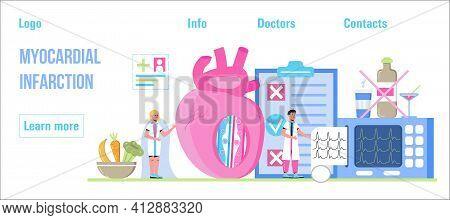 Myocardial Infarction Concept Vector For Medical Website, Header, Blog. Heart Attack, Cardiac Infarc