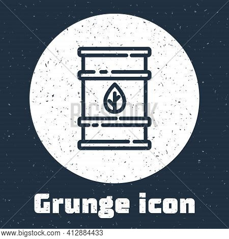 Grunge Line Bio Fuel Barrel Icon Isolated On Grey Background. Eco Bio And Canister. Green Environmen