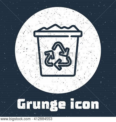 Grunge Line Recycle Bin With Recycle Symbol Icon Isolated On Grey Background. Trash Can Icon. Garbag